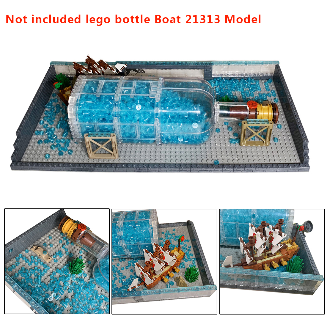MODIKER Seawater Baseplate MOC Small Particle Building Upgrade Kit for Ship in a Bottle <font><b>21313</b></font> Without Bottle Model image
