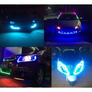 Image 4 - 1X Auto Led Strip 30Cm 60Cm 18 Modes Flexibele Kleurrijke Decoratieve Vloeiende Lamp Motor Drl Rgb Angel Eyes dagrijverlichting 12V