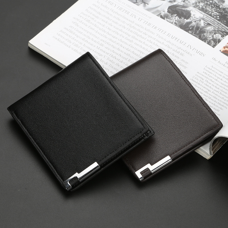 Men Leather Wallet Ultra-thin Short-edge Wallets Casual Vertical Multi-card Slot Male Purse Money Credit Portomonee Carteria