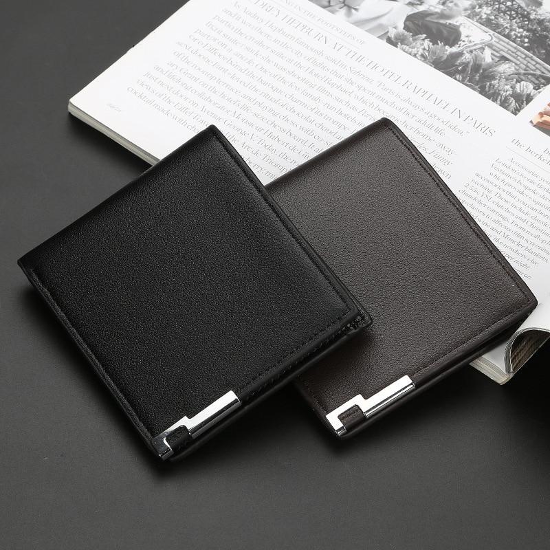Men Leather Wallet Ultra-thin Short-edge Wallets Casual Vertical Multi-card Slot Male Purse Money Credit Portomonee Carteria
