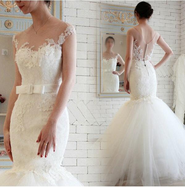 Free Shipping Sexy Romantic Bow Button 2016 Casamento Lace Appliques Vestido De Noiva Tulle Mermaid Wedding Dress Bridal Gown