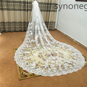 Image 2 - New pattern Cathedral Length Bridal Veil Lace Veil Wide Veil 1 Layer Wedding Veil Metal Comb Real Photo