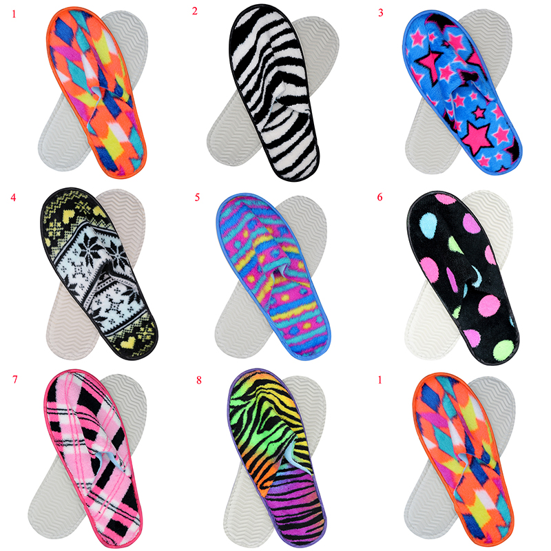 New Stripe Print Women's Slippers Thick Non-slip Home Slippers Hotel Travel Spa Portable Slippers Disposable Indoor Slippers Hot