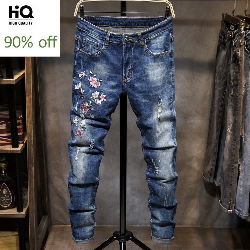 Mens Jeans Embroidery Flower Hole Ripped Slim Stretch Straight Leg Denim Pants Plus Size 38 Casual Zipper Biker Trousers Male