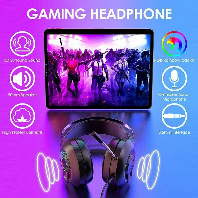 Samtian earphone wired headset with microphone urround sound headband headphone for laptop tablet computer game headphone