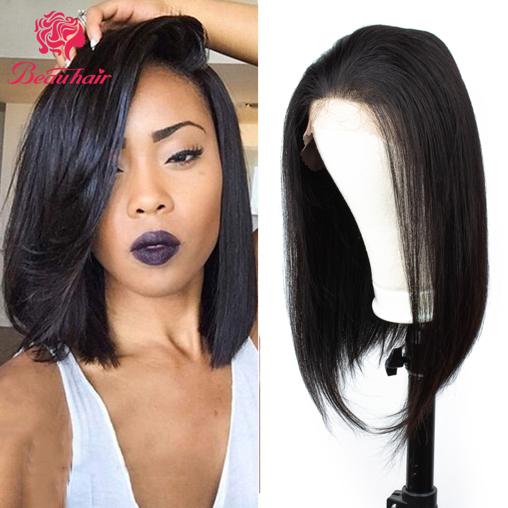 Lace Wigs Human Hair Wigs For Black Women Pre Plucked With Baby Hair Brazilian Non-Remy Hair Color 2 Straight Brown Bob Wigs