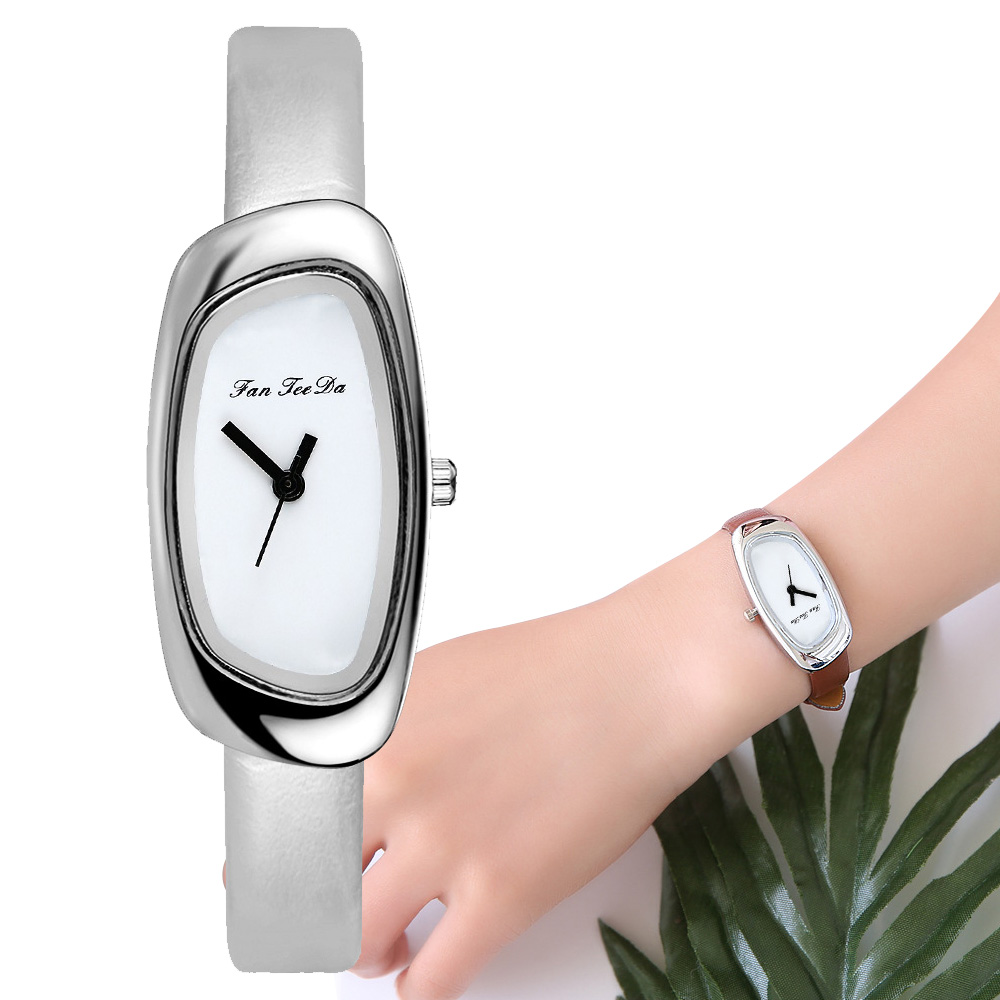 2019 Elliptical Silver Luxury Women Watches Ladies Watch Leather Band Waterproof Female Wristwatch Relogio Feminino Reloj Mujer