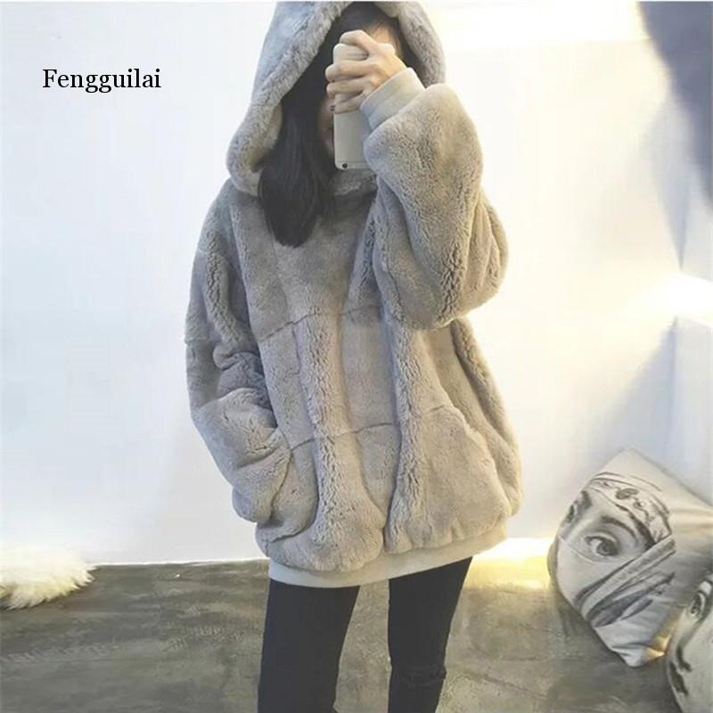 Autumn Winter Fashion Streetwear Faux Fur Hooded Sweatshirs Women Oversize Hoodies Harajuku Pullovers Girls Coats Tops