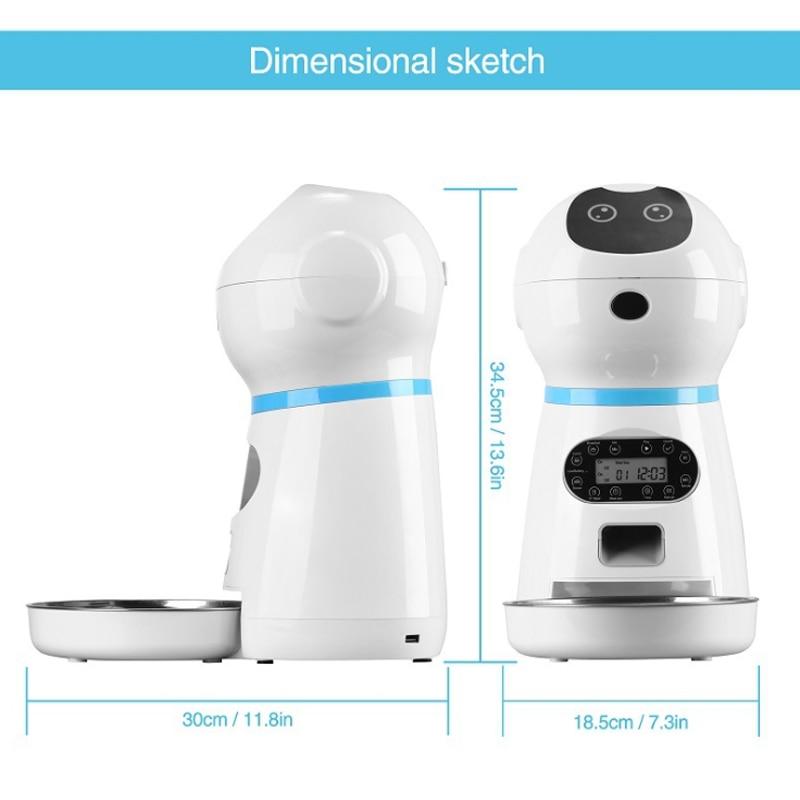 Spina alimentatori automatici per animali domestici con registrazione vocale ciotola per alimenti per cani in acciaio inossidabile Dispenser per alimenti con Timer per schermo LCD per gatti automatici 2