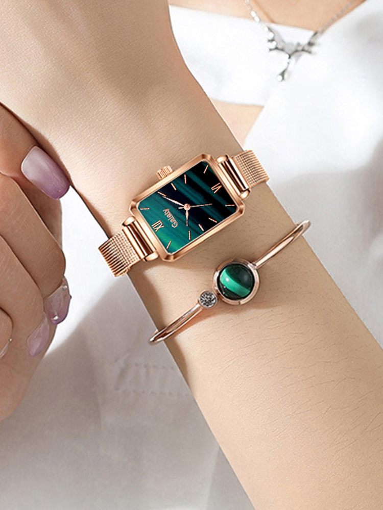 Ladies Watch Bracelet-Set Mesh Dial Rose-Gold Green Women Fashion Simple Gaiety Quartz