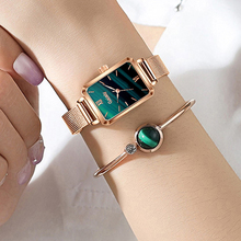 Women Watches Bracelet-Set Mesh Square Dial Rose-Gold Green Fashion Ladies Simple Gaiety-Brand