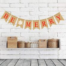 New Arrival Christmas Be Merry Wall Hanging Ornament Snowflake Holly Flag Banner Party Decor Window