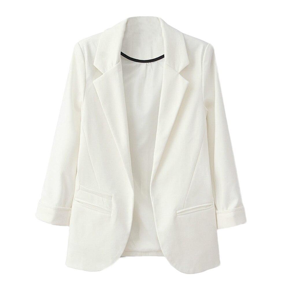 Female Jacket Suit Spring Autumn Women Fashion OL Style Nine Quarter Cuffed Sleeve Blazer Elegant Slim Coat Basic Jacket