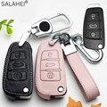 Кожаный чехол для автомобильного ключа для Audi A1, A3, A4, A5, Q7, A6, C5, C6, автомобильный держатель, оболочка, удаленный чехол, Стайлинг автомобиля, бр...