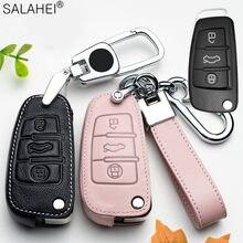 Couro caso chave do carro para audi a1 a3 a4 a5 q7 a6 c5 c6 titular do carro escudo capa remota-estilo do carro chaveiro para acessórios do carro
