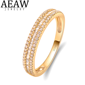 AEAW Real 10K 0.25ct 3 Rows Pave Setting Full Eternity Band Ring 14K Solid white Gold Diamond Wedding Engagement Ring image