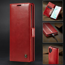 Luxury Case For Samsung Note 10 Plus Card Magnetic Flip leather Wallet Cover For Samsung Galaxy Note 10 Flip Phone Cover protective flip open pu leather pc case cover w window for samsung galaxy note 4 black