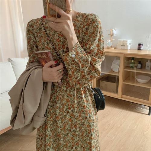 2021 New Spring Design Women Korean Japan Style O Neck A Line Floral Printed Retro Vintage Chic Long Dress N566 8