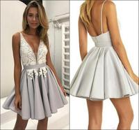Backless Homecoming Dresses A line Short Mini Appliques Lace Beaded Cocktail Dresses
