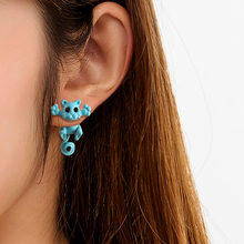 Fashion Multiple Color Classic Kitten Animal Jewelry Cute Solid Interesting Cat Stud Earrings For Women Girls pair of cute kitten earrings for women