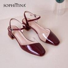 Женские сандалии желе с круглым носком на низком квадратном