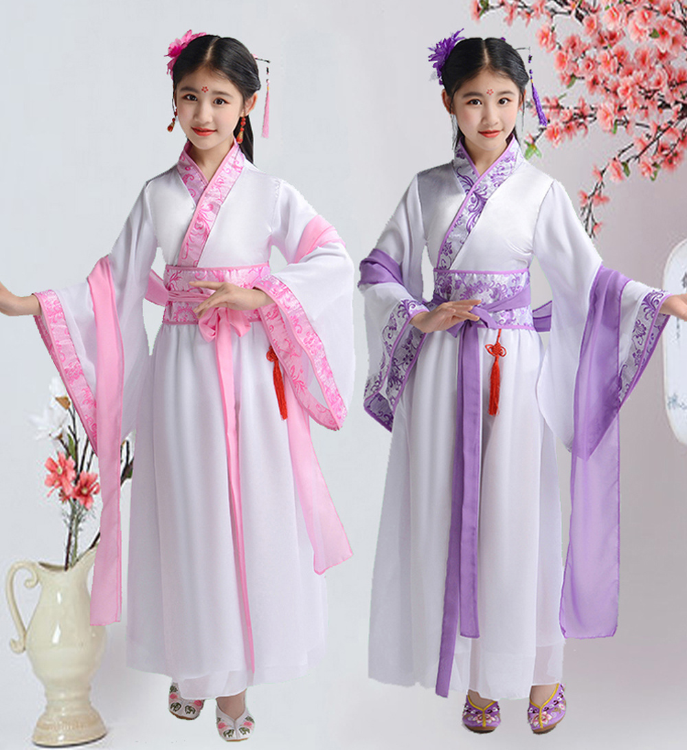 Kids Tradition Hanfu Dancer Costume For Girls Fairy Dresses Cosplay Children Chinese Dress Hanfu Folk Dance Costume