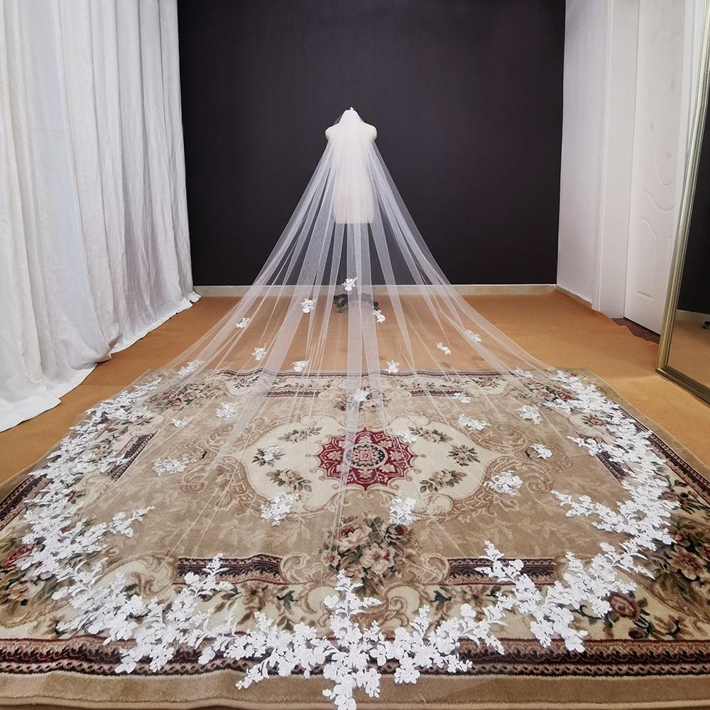 Fotos reais de Longo Lace Apliques Branco Marfim Véu do Casamento Catedral Véu de Noiva 3.5 Metros de Véu de Noiva Acessórios Do Casamento 2020