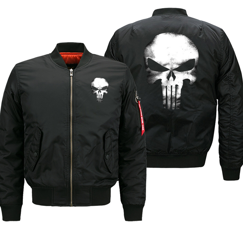 Punisher Skull Bomber Jacket Men 2019 Autumn Winter Thick Coats Streetwear Hip Hop Military Motorcycle Mens Jackets 8XL Oversize