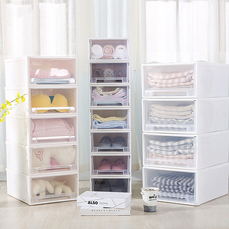 Drawer Storage Cabinet Plastic Closet Storage Box Underwear Bra Socks Tie Case Thickening Kids Lockers Shoe Organizer Container