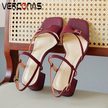 VERCONAS 2020 Fashion Woman Pumps Genuine Leather Summer Brand Design Woman Sandals Square Toe Square High Heeled Shoes Woman