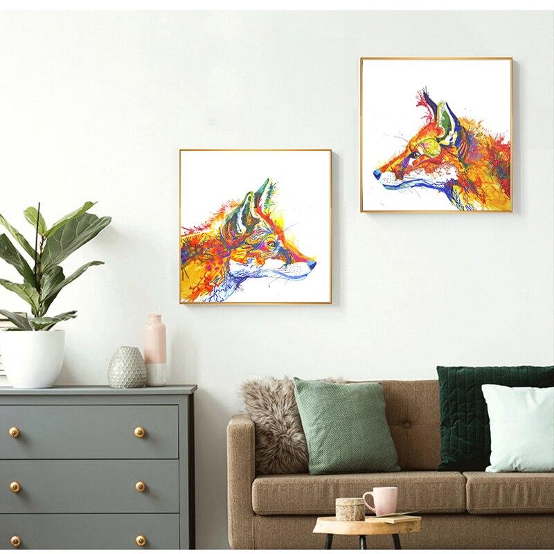 7 76 50 De Réduction Peinture à L Huile Moderne Animaux Affiches Et Impressions Abstrait Renard Toile Peinture Mur Art Photos Pour Salon Cuadros