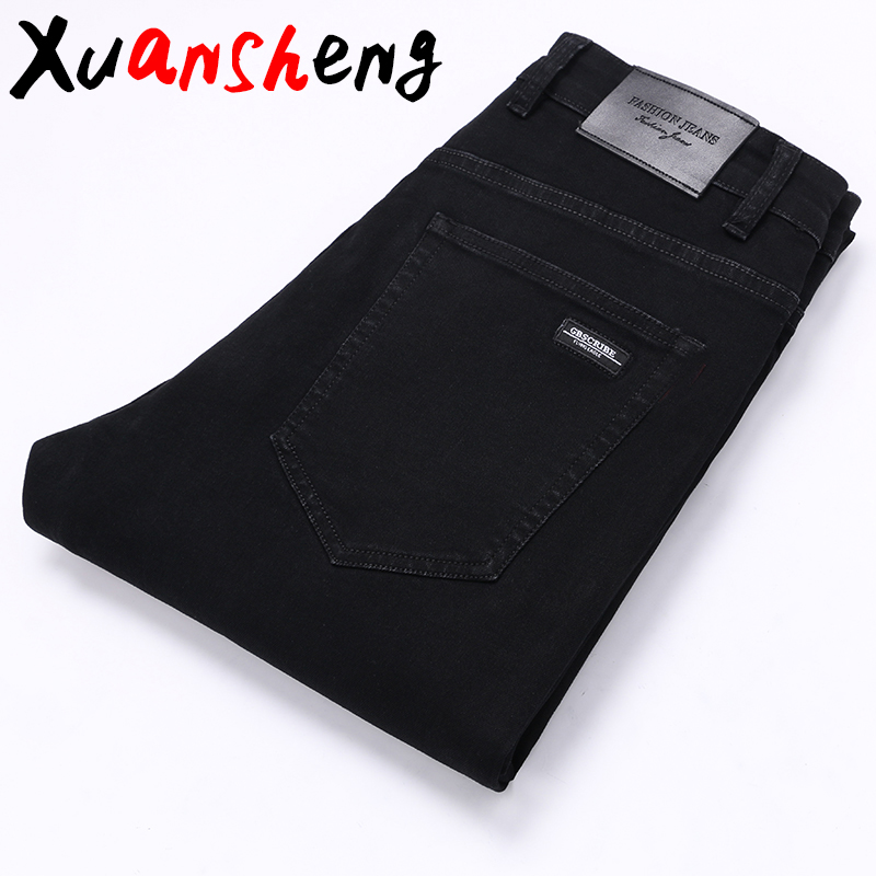 Straight Men's Jeans 2019 New Classic Pure Black Fashion Casual Wild Trousers Autumn And Winter Stretch Streetwear Dress Jeans