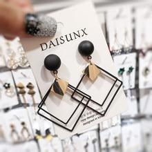 New Spring Summer Black Fashion Geometric Drop Earrings for Women Korea Trend Dangle Earring 2021 Female Elegant Jewelry