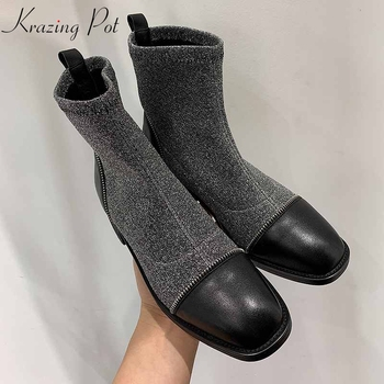 krazing pot 2019 natural leather Chelsea boots round toe thick med heels mixed color decoration stretch knitting ankle boots l53