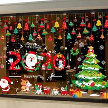 2020 Christmas Stickersglass WindowsChristmas Decorations Wall Stickers Shopping Malls Glass Stickers Santa Claus Stickers(China)