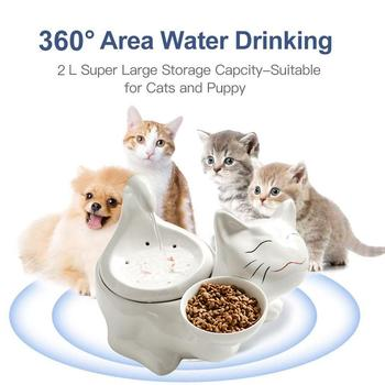 360 Ceramic Pet Fountain Advanced Cat Water Drinking Fountain Bowl With Replacement Filters And Foam For Cat And Dogs