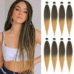 YAKI EZ-Extensions de tresses synthétiques au Crochet pré-tendu, pour femmes, tresses blondes, vertes, brunes, roses, rouges, Jumbo noires