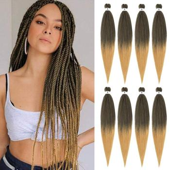 YAKI EZ Pre Stretched Synthetic Crochet Braiding Ombre Hair Extensions For Women Baided Blonde Green Brown Pink Red Jumbo Black - discount item  40% OFF Synthetic Hair