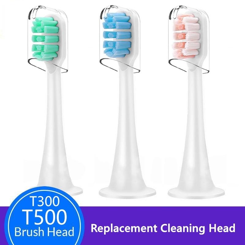 Сменные насадки для электрической зубной щетки Xiaomi Mijia, зеленые, синие, розовые насадки для электрической зубной щетки T300/T500, отбеливающие н...