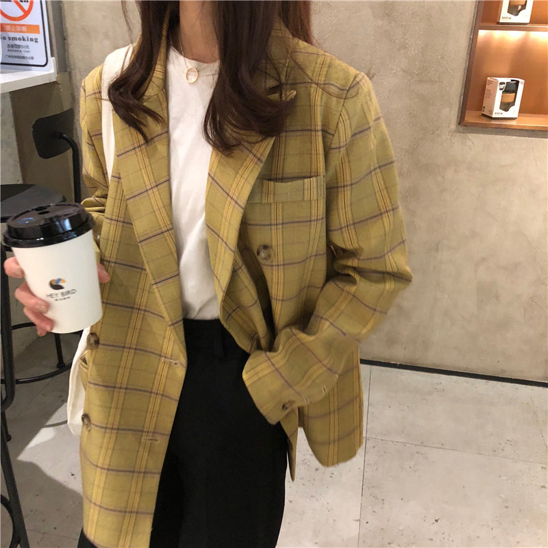 HziriP Yellow Casual Geometric OL Fashion Vintage 2020 Women Warm Plaid Tops All Match Slender Full Sleeves Chic Loose Blazers