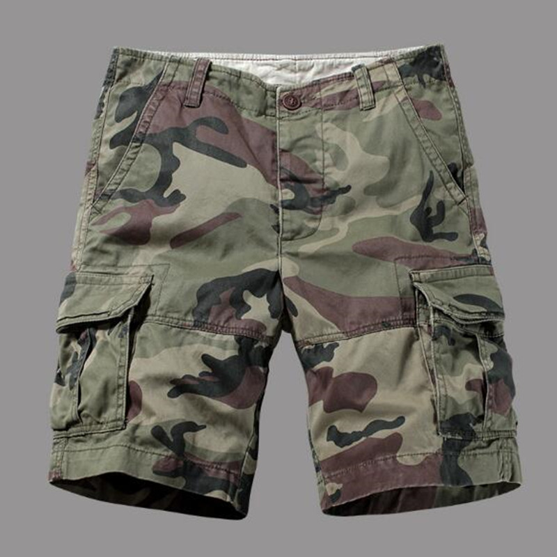 New Multi-pocket Camouflage Mens Shorts Casual Loose Camo Knee-length Mens Cargo Shorts