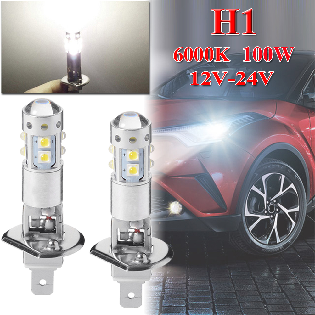 2X 6000K H1 80W HIGH POWER COB LED HEADLIGHT HIGH LOW BEAM FOG LIGHT BULBS