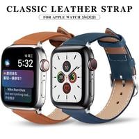 Skórzany pasek do zegarka Apple nadaje się do paska 5 40mm 44mm pasek ze skóry naturalnej pasek do zegarka 38mm 42mm iwatch series 4/3/2/1