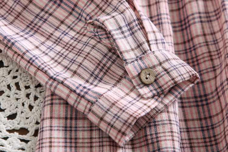 Абрикосовое фиолетовое Хлопковое платье в клетку осенне-зимние женские винтажные платья с длинными рукавами и кукольным воротником s-xl