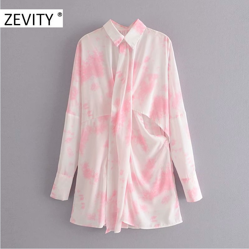ZEVIT New Women fashion tie dyed painting casual sunscreen shirt dress Ladies inner sling vestido chic two pieces Dresses DS4343