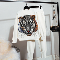 2020 Knitwear 2 Piece Suits Spring Autumn New Women Fashion Beading Old tiger Warm Sweater + Loose Trousers Women Knitted sets