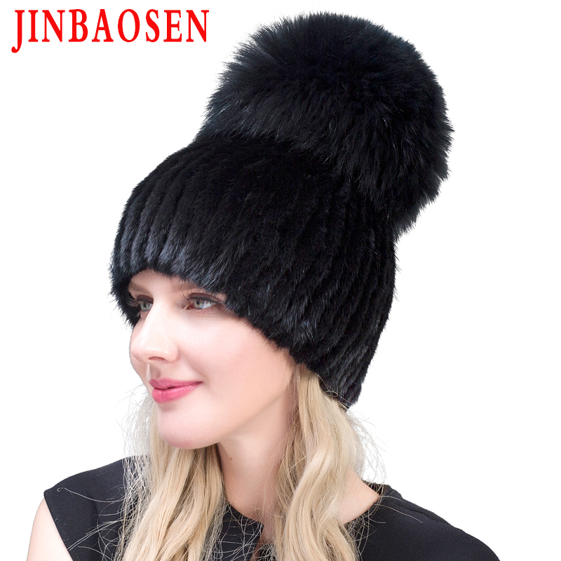 Real Mink Fur Hat For Winter Women Imported Knitted Mink Cap With Fox Fur 2019 New Hot Sale High Quality Women Beanies