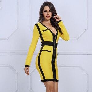 Image 5 - Seamyla 2019 yeni kadın bandaj elbise Vestidos sarı ve siyah Mini gece Out Clubwear seksi derin V ünlü akşam parti elbiseler