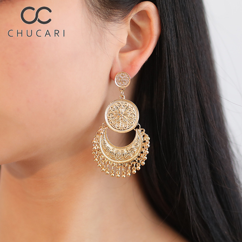 CHUCARI 2019 New Fashion Personality Bohemia Star Sun Moon Hollow Metal Alloy Vintage Geometric Out Vintage Statement Earrings