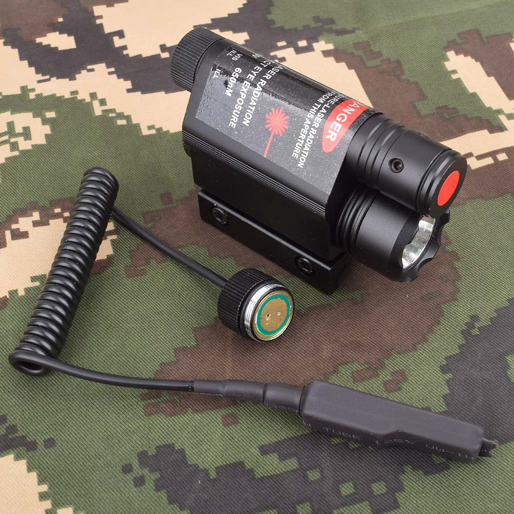 Tactical LED Flashlight Green / Red Laser Sight For 20mm Rail Mini Glock Pistol Gun Light lanterna Airsoft Light-5